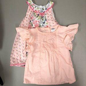 2 Pink Tops Girls Size 4T Carters & Little Lass